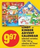 Lindt or Kinder Advent Calendar - 128-182 g