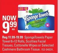 Spongetowels Paper Towel 6=12 Rolls - Scotties Facial Tissues - Cottonelle Wipes or Selected Cashmere Bathroom Tissue