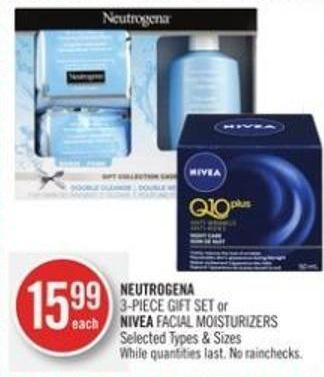 Neutrogena 3-piece Gift Set or Nivea Facial Moisturizers
