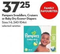 Pampers Swaddlers - Cruisers  or Baby Dry Econo+ Diapers Sizes 1-6 - 240-104ct