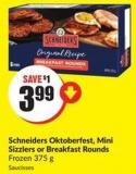 Schneiders Oktoberfest - Mini Sizzlers or Breakfast Rounds Frozen 375 g