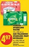 Perrier Sparkling Water - 10 X 250 mL Or San Pellegrino Sparkling Fruit Beverages - 6 X 250/330 mL