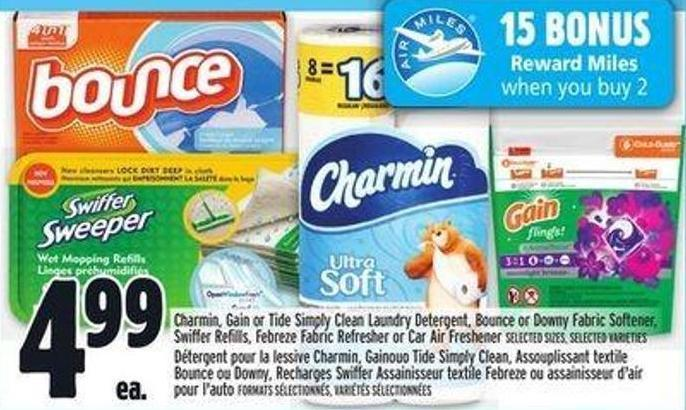 Charmin - Gain Or Tide Simply Clean Laundry Detergent - Bounce Or Downy Fabric Softener - Swiffer Refills - Febreze Fabric Refresher Or Car Air Freshener