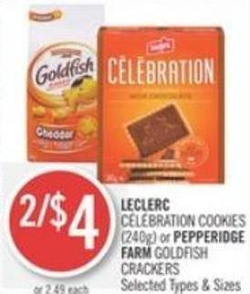 Leclerc  Célébration Cookies (240g) or Pepperidge Farm Goldfish Crackers