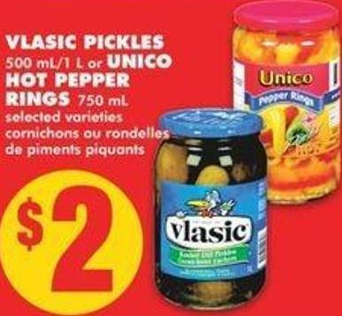 Vlasic Pickles 500 Ml/1 L Or Unico Hot Pepper Rings 750 Ml