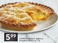 Compliments 9in Apple or Pumpkin Pie