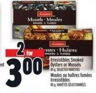 Irresistibles Smoked Oysters Or Mussels 85 g