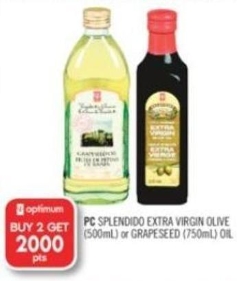 PC Splendido Extra Virgin Olive (500ml) or Grapeseed (750ml) Oil