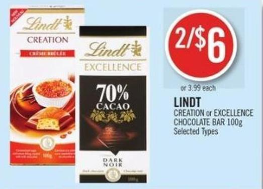 Lindt Creation or Excellence Chocolate Bar