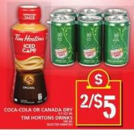 Coca-cola Or Canada Dry Or Tim Hortons Drinks