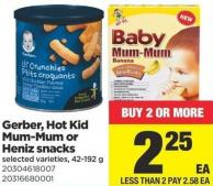Gerber - Hot Kid Mum-mum Or Heniz Snacks - 42-192 g
