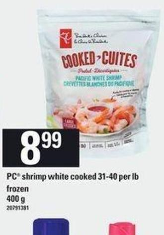 PC Shrimp White Cooked - 31-40 Per Lb - 400 g