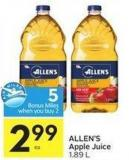 Allen's Apple Juice 1.89 L - 5 Air Miles Bonus Miles