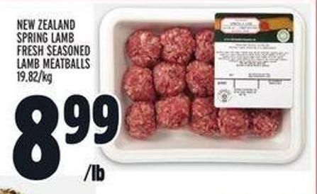 New Zealand Spring Lamb Fresh Seasoned Lamb Meatballs