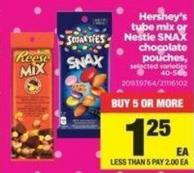 Hershey's Tube Mix Or Nestle Snax Chocolate Pouches - 40-56 g