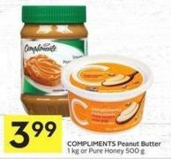 Compliments Peanut Butter 1 Kg or Pure Honey 500 g