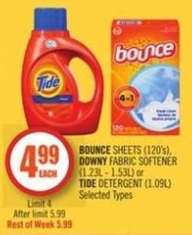 Bounce Sheets (120's) - Downy Fabric Softener (1.23l - 1.53l) or Tide Detergent (1.09l)