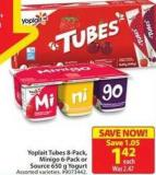 Yoplait Tubes 8-pack - Minigo 6-pack or Source 650 g Yogurt
