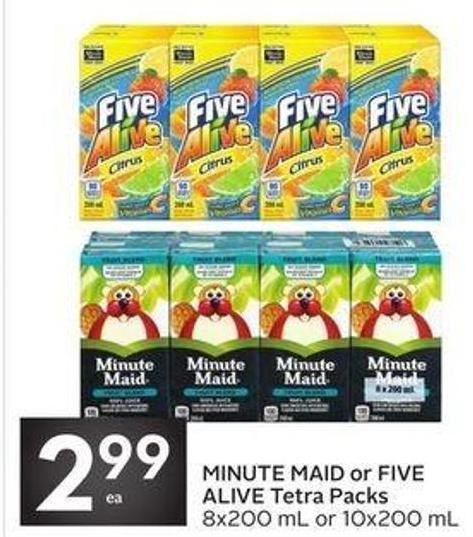 Minute Maid or Five Alive Tetra Packs