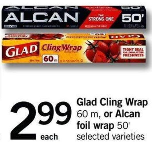 Glad Cling Wrap - 60 M Or Alcan Foil Wrap 50'