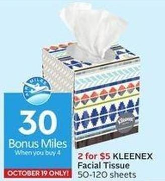 Kleenex Facial Tissue 50-120 Sheets 30 Air Miles Bonus Miles