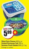 Silani Feta Cheese 400 g or Grated Parmesan Tub 500 g Summer Fresh Salads 800 G-1 Kg
