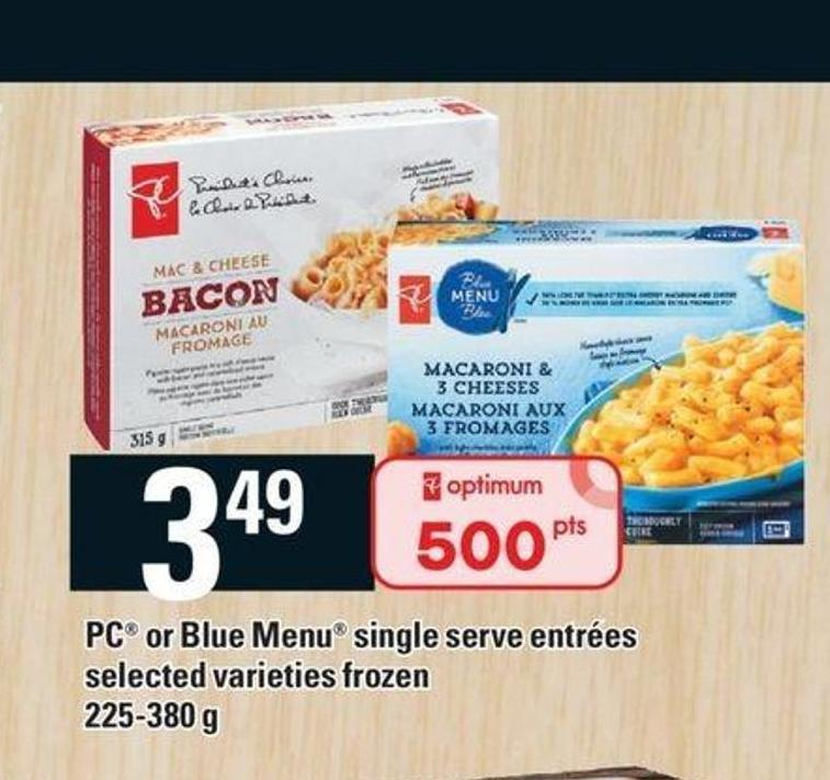 PC Or Blue Menu Single Serve Entrées - 225-380 G