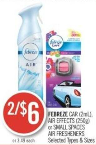 FEBREZE CAR (2mL), AIR EFFECTS (250g) or SMALL SPACES AIR FRESHENERS