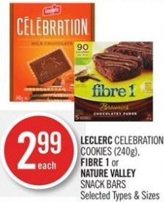 Leclerc Celebration Cookies (240g) - Fibre 1 or Nature Valley Snack Bars