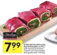 Sterling Silver Inside Round Rouladen Stuffed With Spinach and Swiss Cheese Cut From Canada Aaa Grade Beef