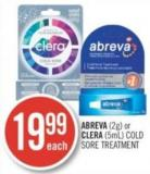 Abreva (2g) or Clera (5ml) Cold Sore Treatment