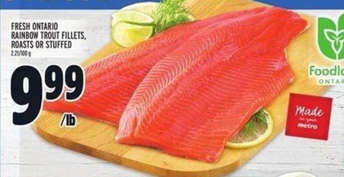Fresh Ontario Rainbow Trout Fillets - Roasts or Stuffed