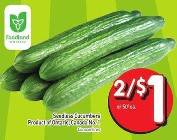 Seedless Cucumbers Product of Ontario Canada No.1