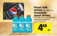 Pepsi Soft Drinks - 12 X355 Ml - Gatorade Sport Drinks - 6 X 591 Ml Or 8x355 Ml