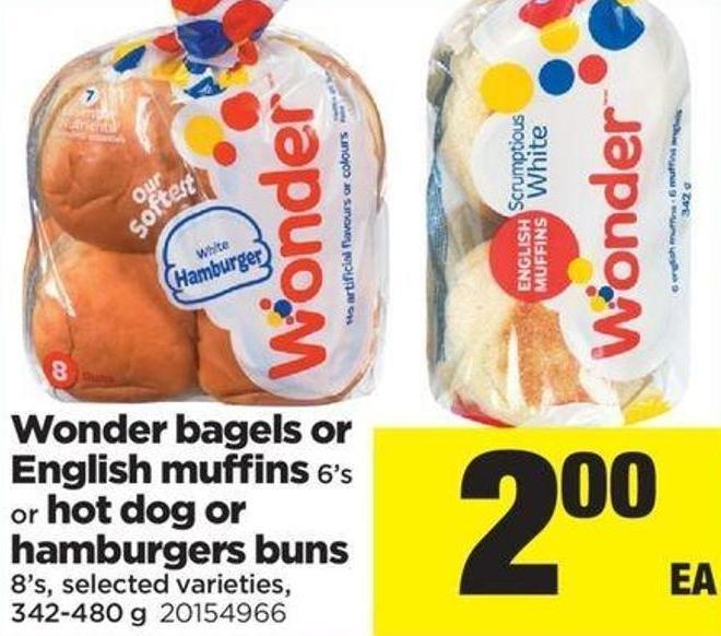 Wonder Bagels Or English Muffins - 6's Or Hot Dog Or Hamburgers Buns - 8's - 342-480 g