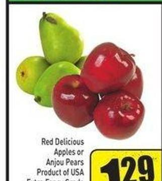 Red Delicious Apples or Anjou Pears Product of USA Extra Fancy Grade 2.84/kg