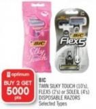 Bic Twin Silky Touch (10's) - Flex5 (2's) or Soleil (4's) Disposable Razors