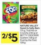 Nature Valley Sweet & Salty Bars 175 g - Trail Mix or Crunchy 230 g or Betty Crocker Gushers 138 g or Fruit By The Foot 128 g