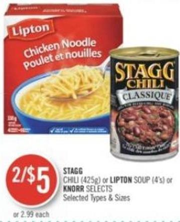 Stagg  Chili (425g) or Lipton Soup (4's) or Knorr Selects
