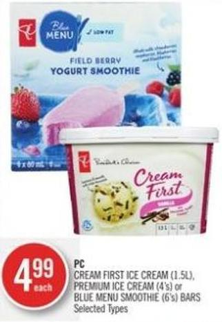 PC Cream First Ice Cream (1.5l) - Premium Ice Cream (4's) or Blue Menu Smoothie (6's) Bars
