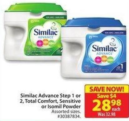 Similac Advance Step 1 or 2 - Total Comfort - Sensitiveor Isomil Powder