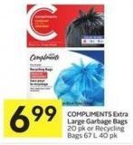 Compliments Extra Large Garbage Bags 20 Pk or Recycling Bags 67 L 40 Pk