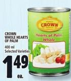 Crown Whole Hearts Of Palm 400 ml