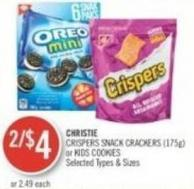 Christie Crispers Snack Crackers (175g) or Kids Cookies