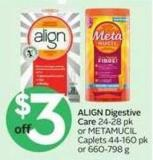 Align Digestive Care 24-28 Pk or Metamucil Caplets 44-160 Pk or 660-798 g