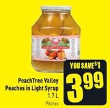 Peachtree Valley Peaches In Light Syrup 1.7 L Pêches