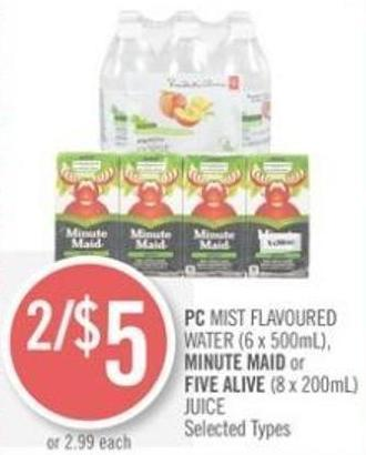 PC Mist Flavoured Water (6 X 500ml) - Minute Maid or Five Alive (8 X 200ml) Juice