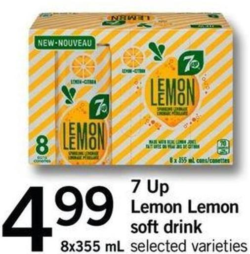7 Up Lemon Lemon Soft Drink - 8x355 Ml