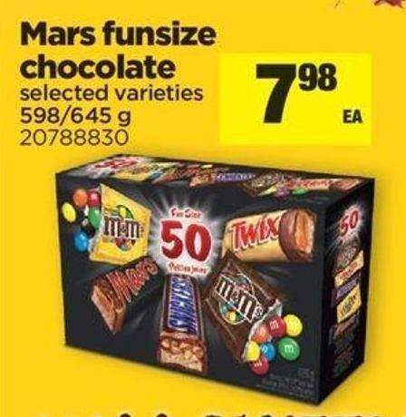 Mars Funsize Chocolate - 598/645 G