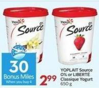 Yoplait Source 0% or Libert' Classique Yogurt 650 g - 30 Air Miles